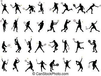jogadores, silhuetas, tênis