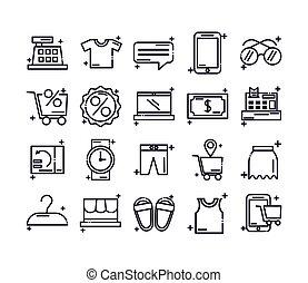 jogo, ícone, ícones, estilo, linha, shopping
