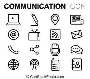 jogo, ícones, comunicação, vetorial, pretas, linha