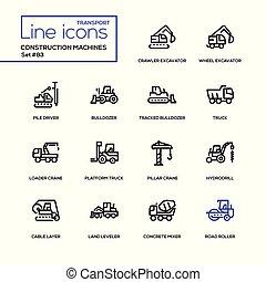 jogo, ícones, -, construção, desenho, linha, máquinas