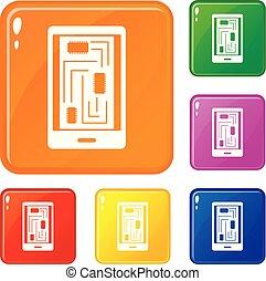 jogo, ícones, cor, innards, telefone, vetorial