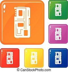 jogo, ícones, cor, lasca, telefone, vetorial