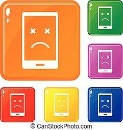 jogo, ícones, cor, morto, telefone, vetorial