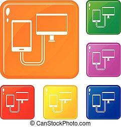 jogo, ícones, cor, telefone, conexão, vetorial