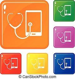 jogo, ícones, cor, telefone, vetorial, diagnóstico
