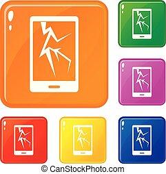 jogo, ícones, cor, telefone, vetorial, rachado