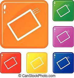 jogo, ícones, cor, um, telefone, vetorial