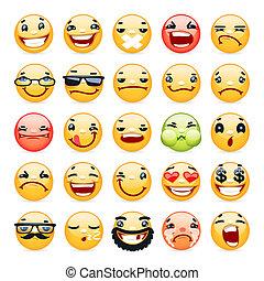 jogo, ícones, facial, sorrizo, expressão, caricatura