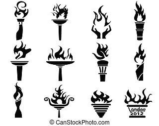 jogo, ícones, fogo, tocha, chama, pretas