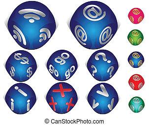 jogo, ícones, internet, 3d