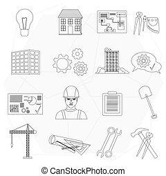 jogo, ícones, isolated., construtor, trabalhador, construção, linha magra