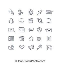 jogo, ícones, marketing, vetorial, internet, linha