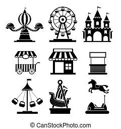 jogo, ícones, mono, parque, objetos, divertimento