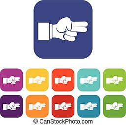 jogo, ícones, mostrando, dedos, mão, dois