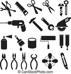 jogo, ícones, trabalho, -, vetorial, ferramentas