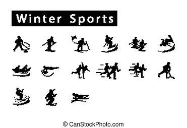 jogo, 15, inverno, mega, ícones, desporto