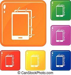 jogo, aberta, ícones, cor, telefone, vetorial
