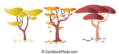 jogo, abstratos, árvores