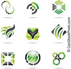 jogo, abstratos, ícones, verde, 9, vário