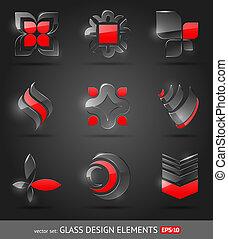 jogo, abstratos, -, vidro, vetorial, projete elementos