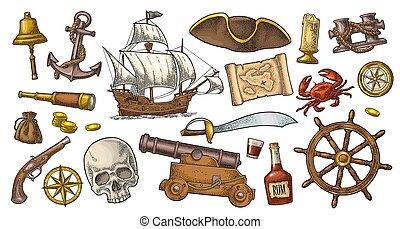 jogo, adventure., pirata, cor, vetorial, gravura, vindima