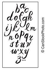 jogo, alfabeto, hand-drawn, tinta, branca, caligrafia