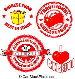 jogo, alimento chinês, etiquetas, selo, autêntico