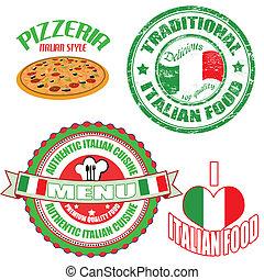 jogo, alimento, etiquetas, selo, autêntico, italiano