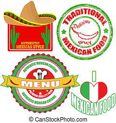 jogo, alimento mexicano, etiquetas, selo, autêntico