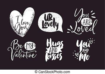 jogo, amor, citação, valentines, pretas, branca, dia
