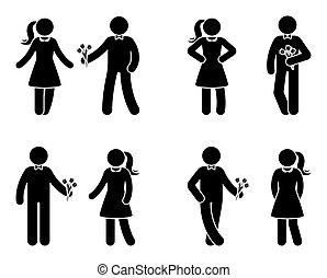 jogo, amor, figura, par, vara, ícone
