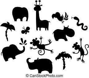 jogo, animal, africano