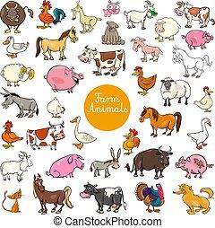 jogo, animal, fazenda, grande, caráteres, caricatura