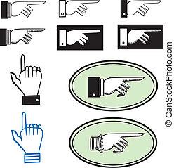 jogo, apontar, mãos