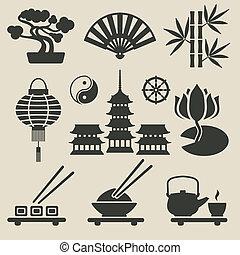 jogo, asiático, ícones