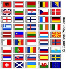 jogo, bandeiras, europeu
