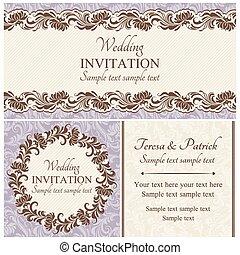 jogo, barroco, casório, bege, convite
