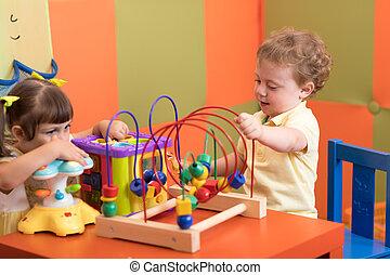 jogo, berçário, crianças