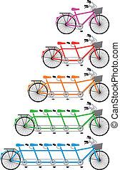 jogo, bicicleta tandem, vetorial