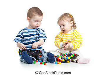 jogo, brinquedo, crianças, mosaico