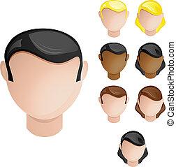 jogo, cabeças, pessoas, cabelo, cores, 4, pele, female., macho