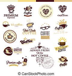 jogo café, emblemas, ícones