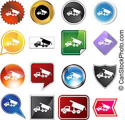 jogo, caminhão, entulho, ícone