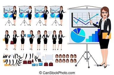 jogo, caráteres, negócio, mostrando, jovem, falando, mulher, femininas, apresentação