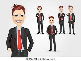 jogo, caráteres, poses, homem negócios