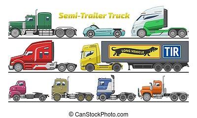 jogo, carga, despacho, camião, trucking, frete, fundo, semi-caminhão, vetorial, transporte, branca, veículo, semi, isolado, caminhão reboque, ilustração, entrega