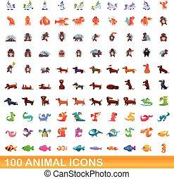 jogo, caricatura, ícones, 100, estilo, animal
