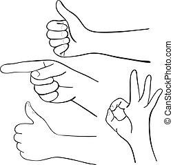 jogo, caricatura, mãos