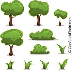jogo, cercas, folhas, árvores, capim, caricatura