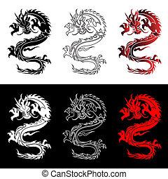 jogo, chinês, dragões